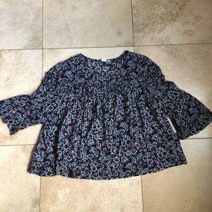 Gap Rayon/Cotton Flowy Floral Print Blouse, XL